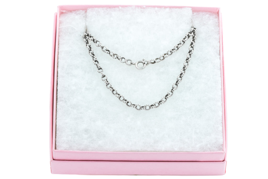 "French Antique Silver Belcher Chain Necklace, 40"" (19.2g)"
