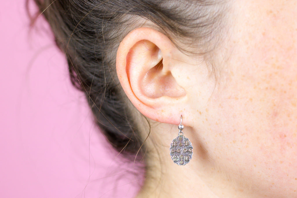 Victorian Silver Earrings with 9ct Gold Accents