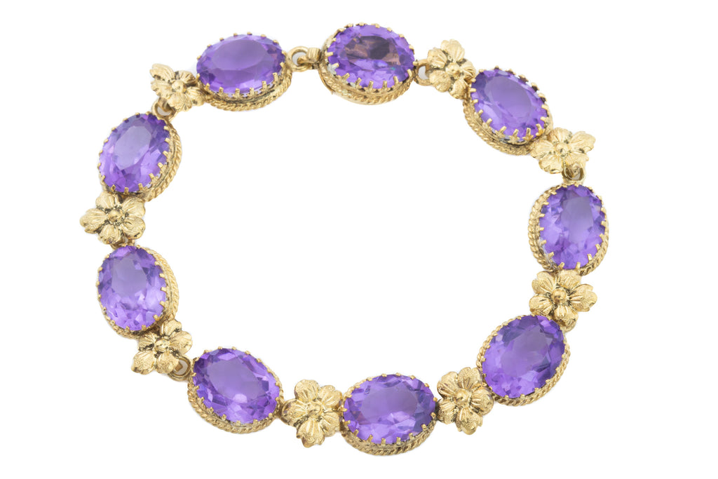 Swedish Art Deco Silver Gilt Amethyst Flower Bracelet