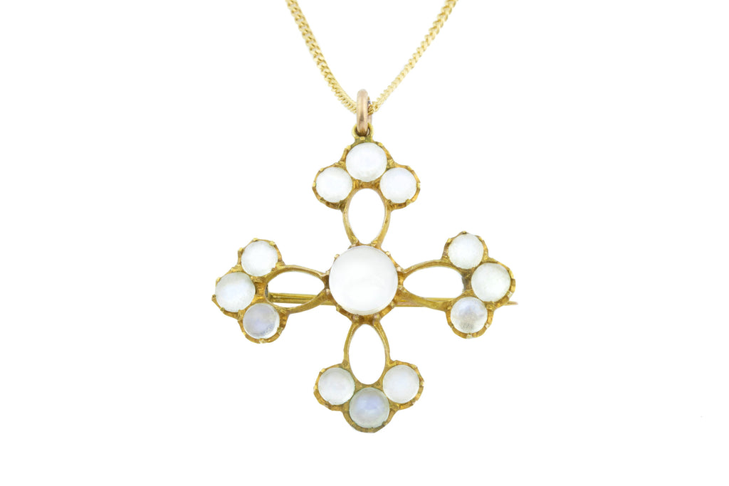 9ct Gold Antique Moonstone Flower Brooch Pendant 2.2ct