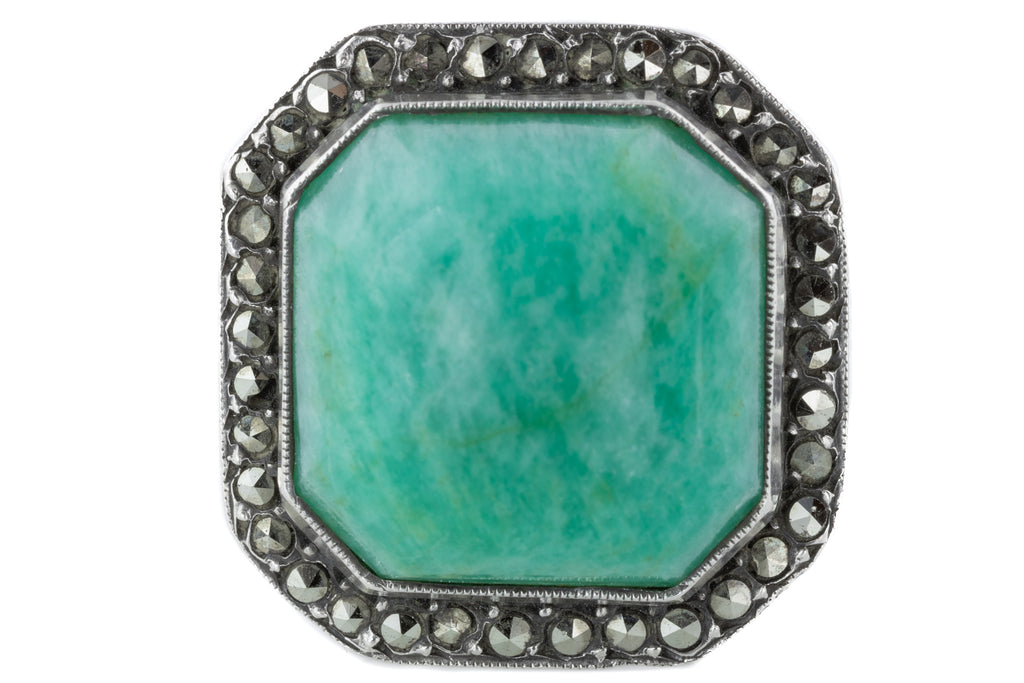 Art Deco Amazonite French Marcasite Ring