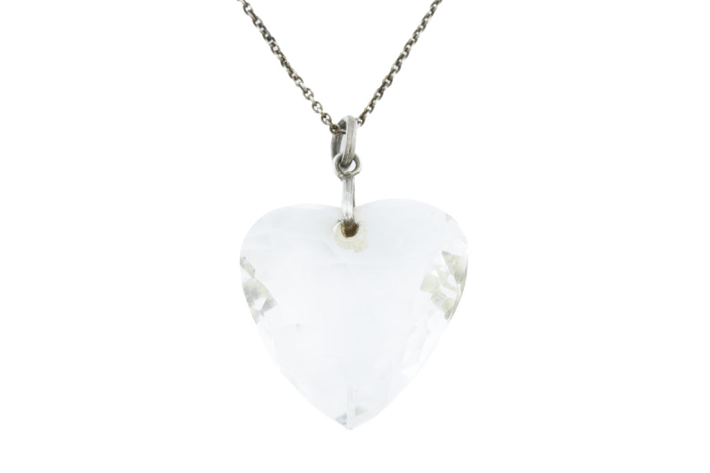 Art Deco Rock Crystal Heart Pendant (21.37ct)