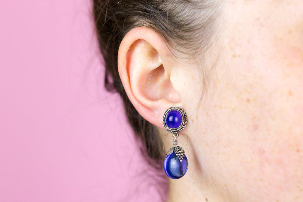 Art Deco Blue Glass Earrings c.1930