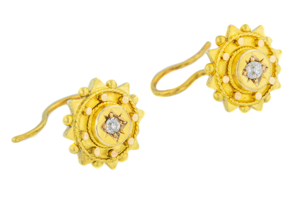 15ct Gold Victorian Diamond Etruscan Earrings