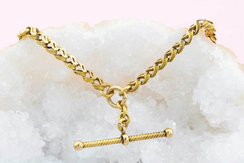 15ct Gold Victorian Fancy Link Chain and Bracelet with Dog-Clips and T-bar