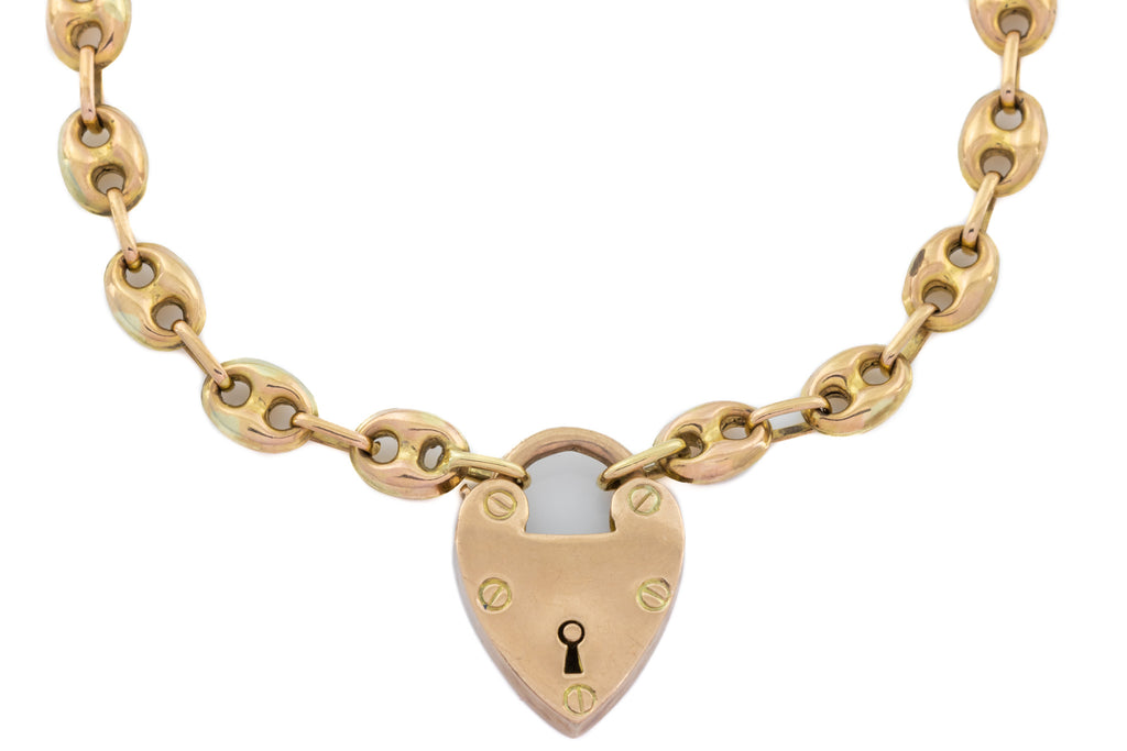 Antique 9ct Gold Anchor Chain Necklace with Heart Padlock