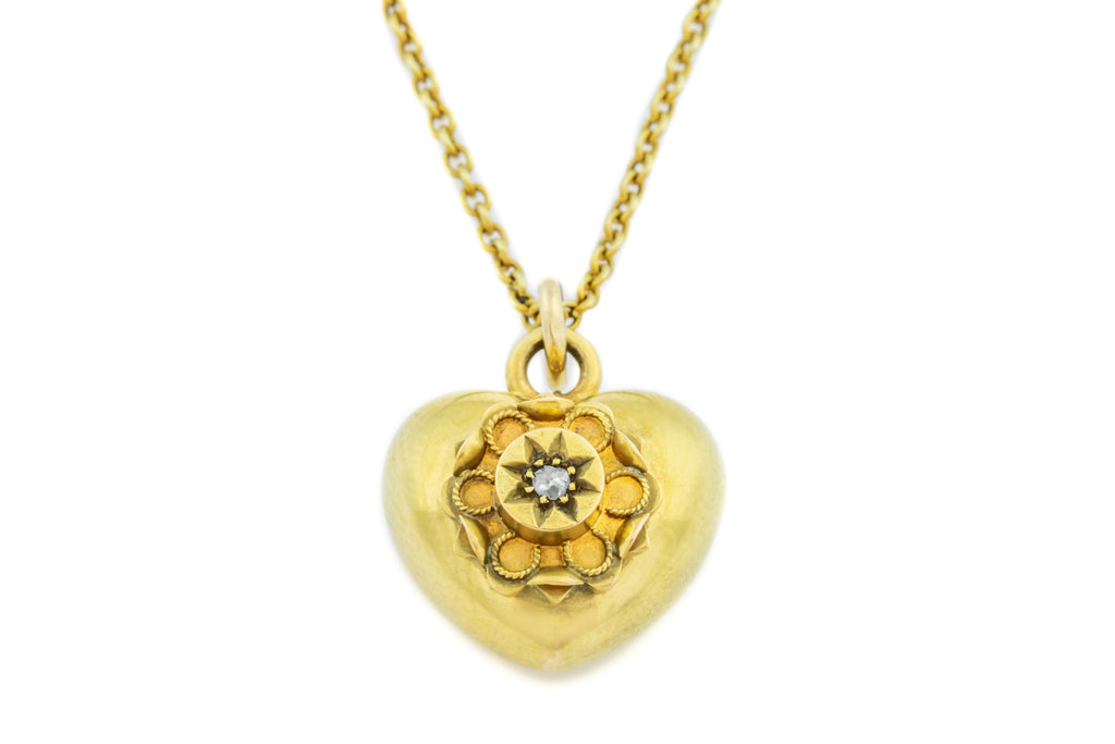 "Antique Gold Heart Charm Pendant, with 15.5"" Chain"