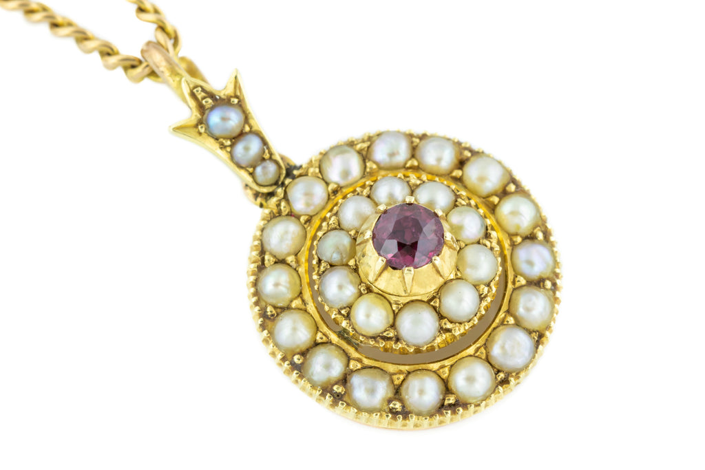 15ct Gold Edwardian Pearl Cluster Ruby Pendant 0.20ct