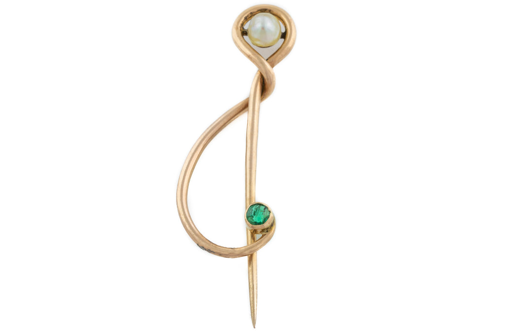 Art Nouveau 9ct Gold Brooch with Pearl and Tourmaline