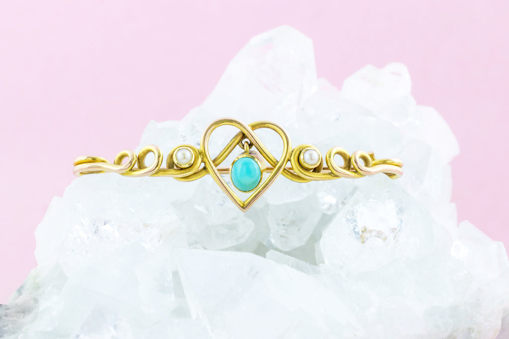 12ct Gold Victorian Pearl Turquoise Heart Brooch c.1890