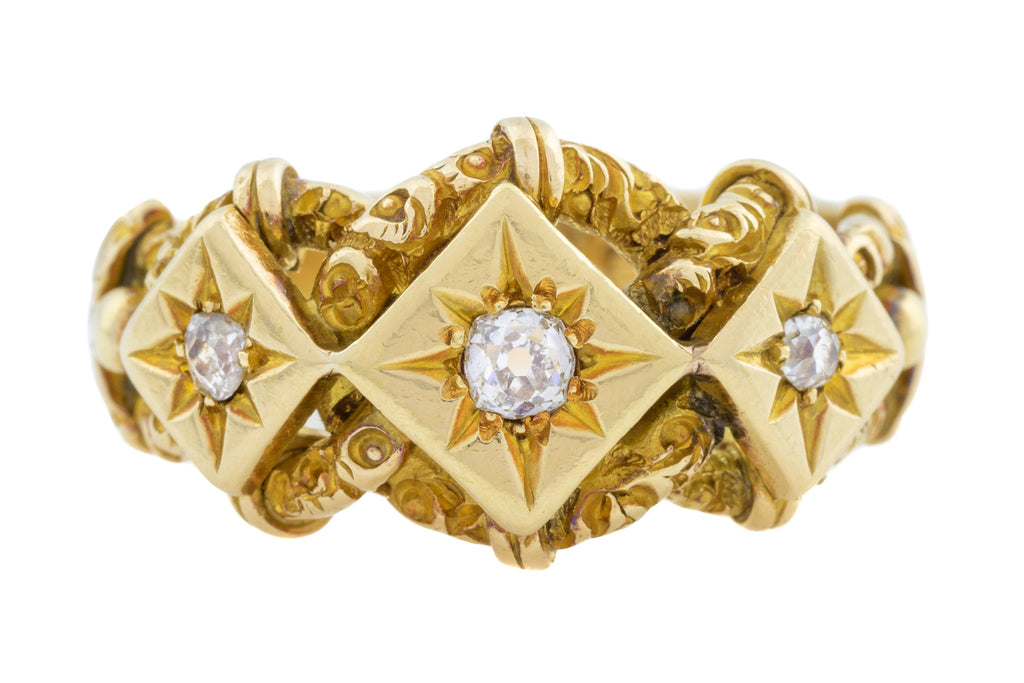 Superb 18ct Gold Victorian Diamond Knot Ring 0.14ct