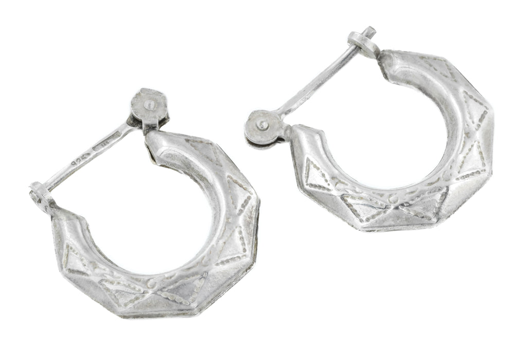 Etruscan Style Silver Hoop Earrings