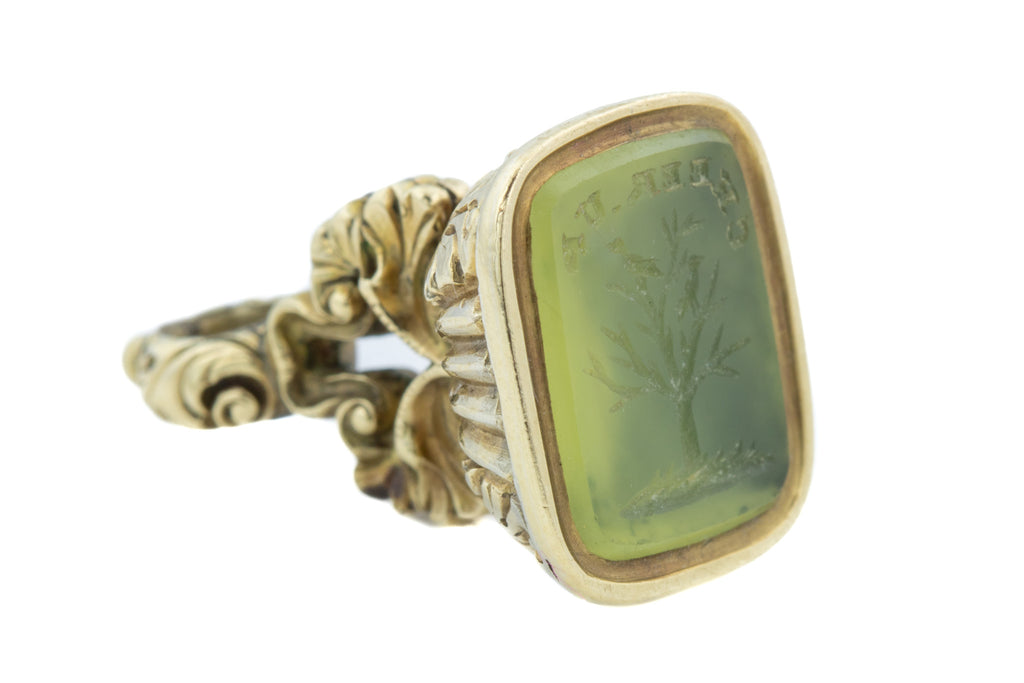 "Georgian 9ct Gold Chalcedony Fob Pendant - ""Cheer Up"" Intaglio"