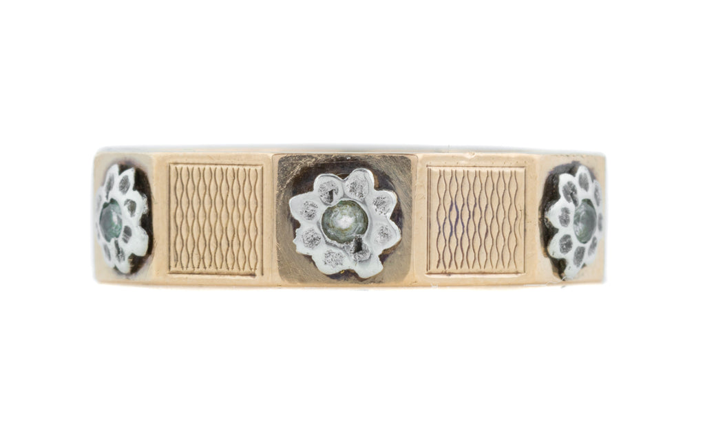 Art Deco Silver Cigar Band Ring with White Spinel