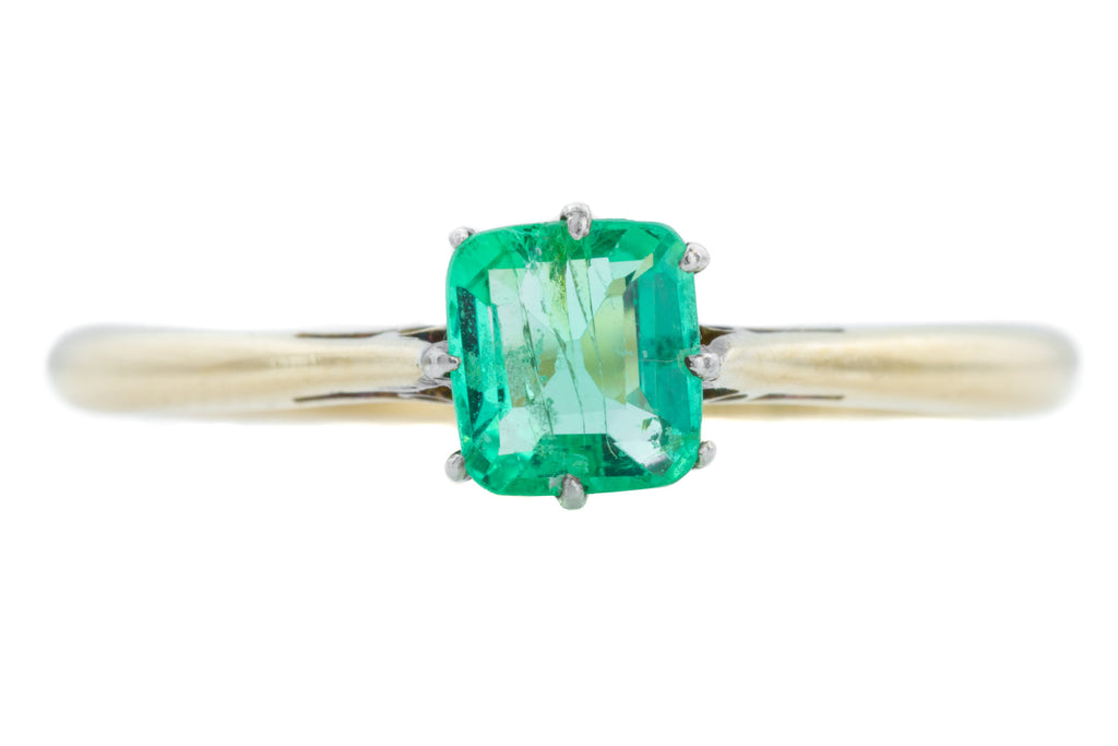 Art Deco Emerald Solitaire Ring (0.40ct) c.1930