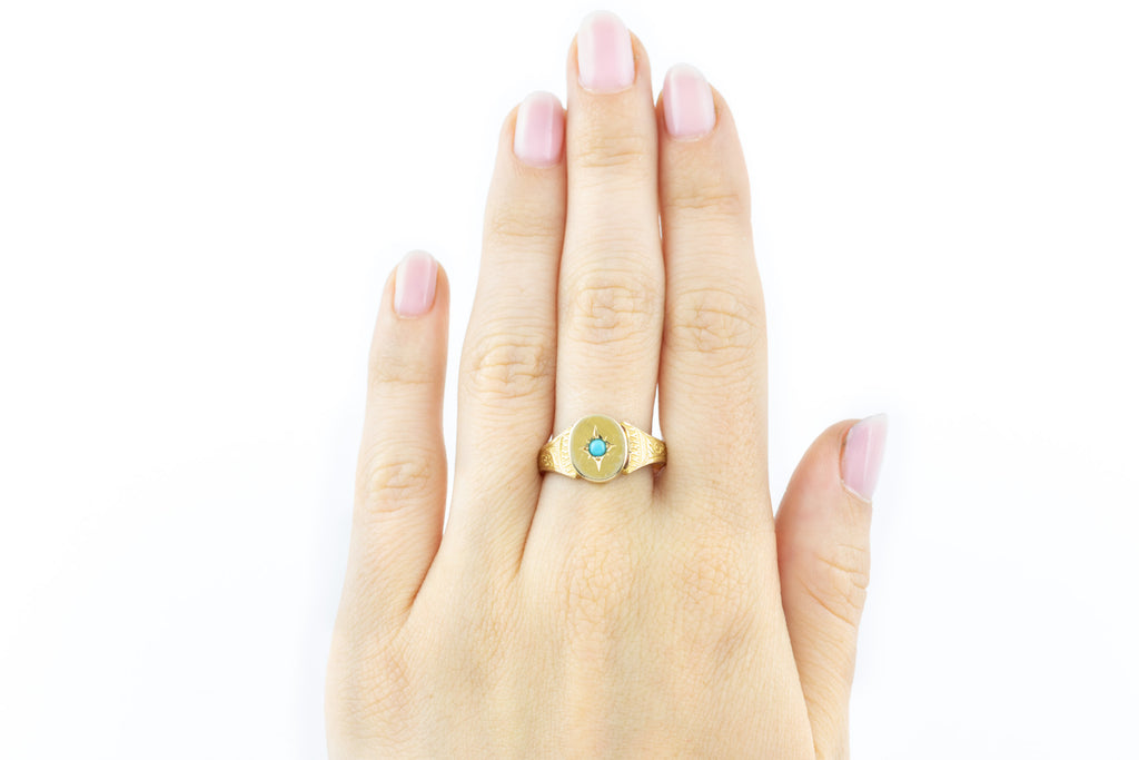 Rare 18ct Gold Victorian Turquoise Poison Ring c.1880