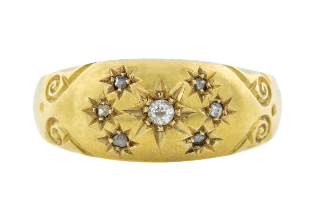 Antique 18ct Gold Diamond Gypsy Ring c.1904 (0.06ct)