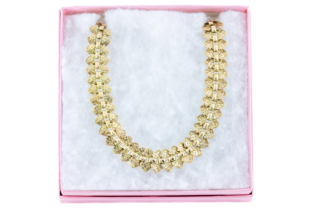 9ct Gold Victorian Book Chain Collar Necklace
