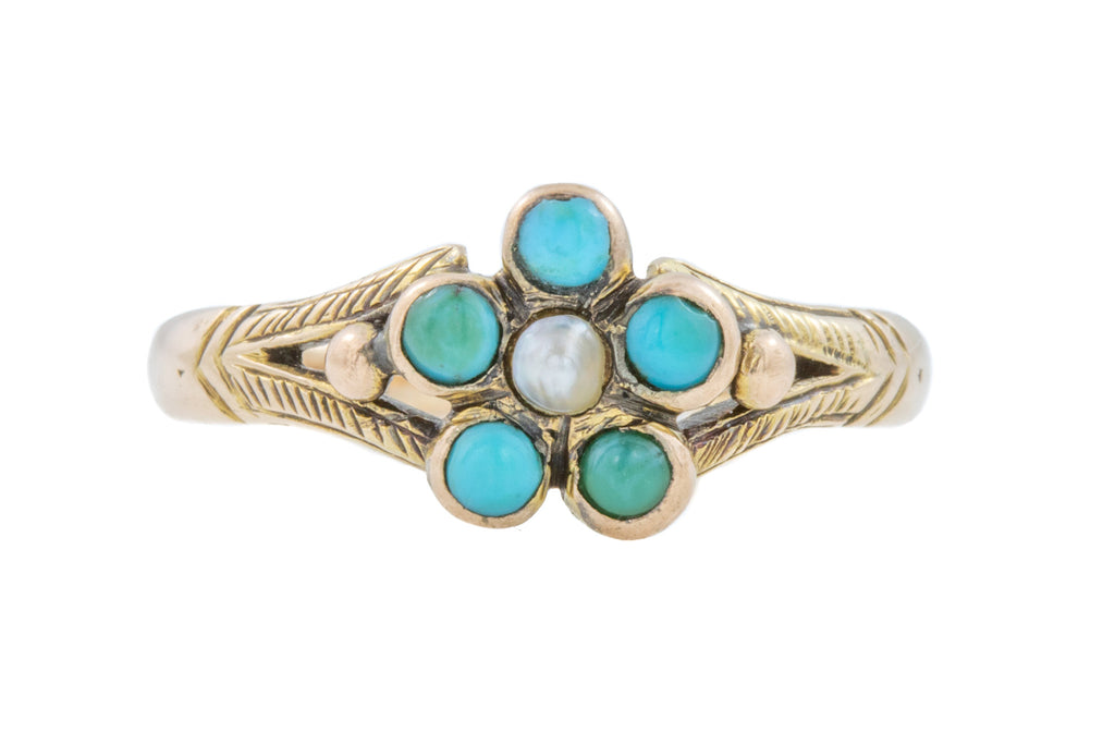 Antique Turquoise and Pearl Cluster Ring