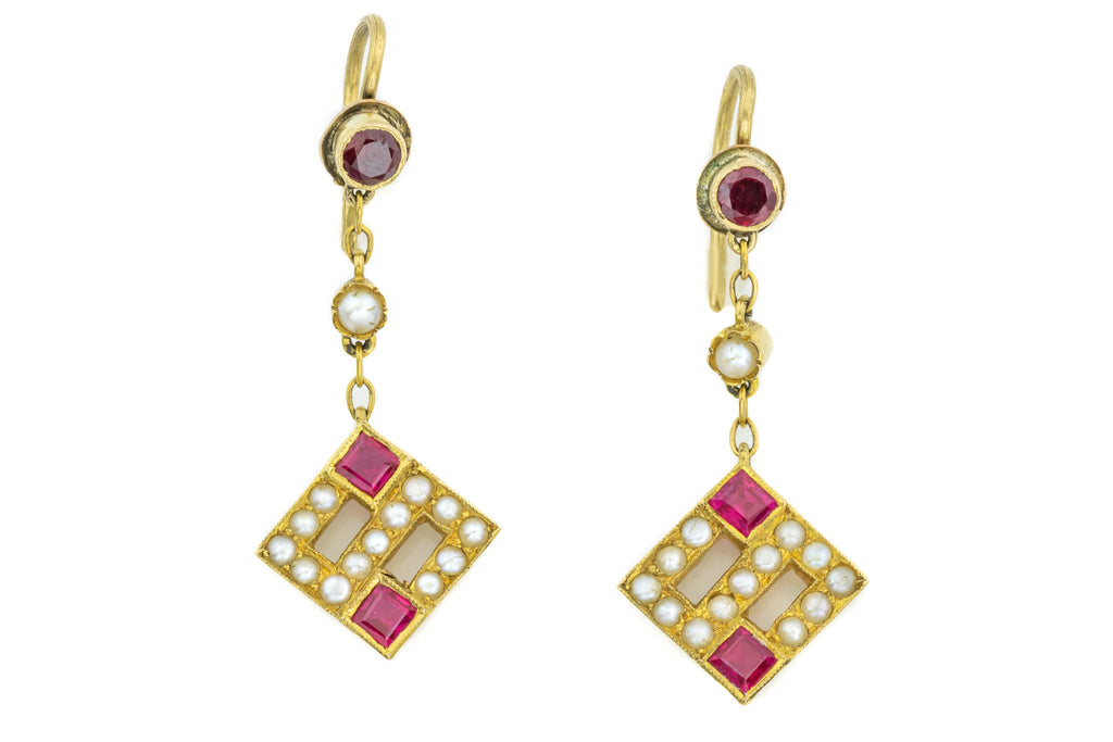 Antique 18ct Gold Pearl and Ruby Earrings