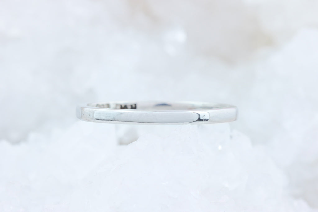 Art Deco Faceted Platinum Band