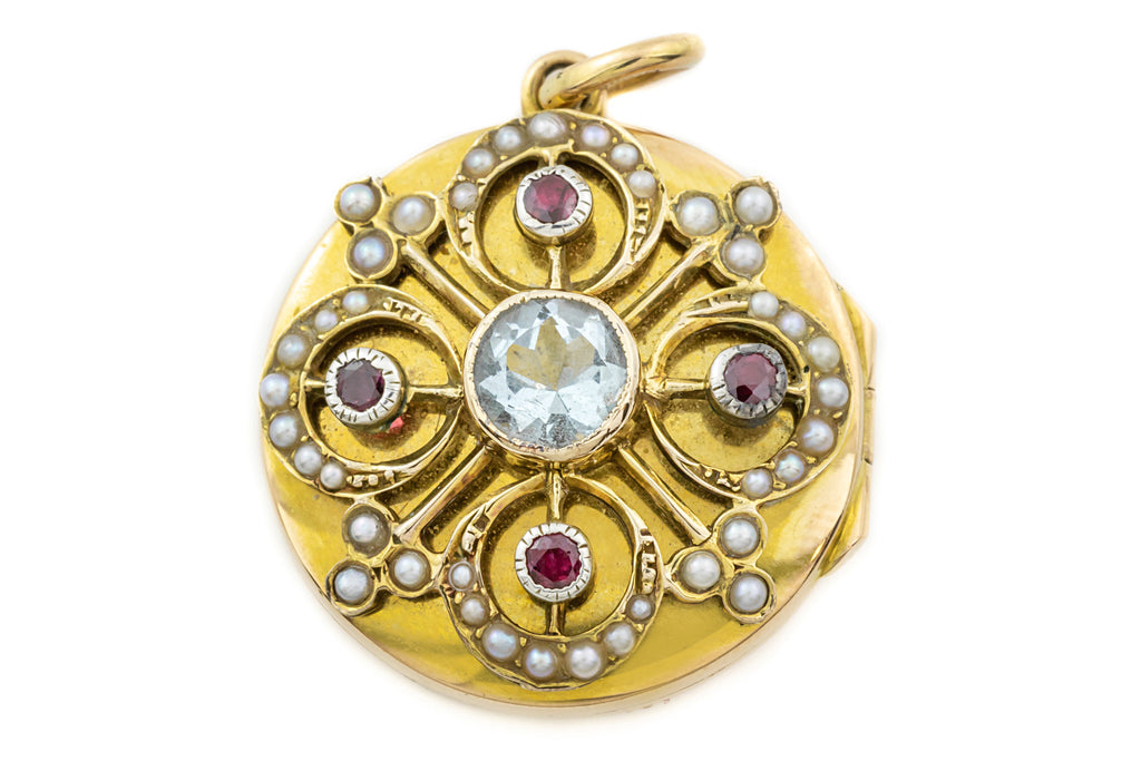 Antique 15ct Gold Round Locket with Pearls, Rubies and Aquamarine