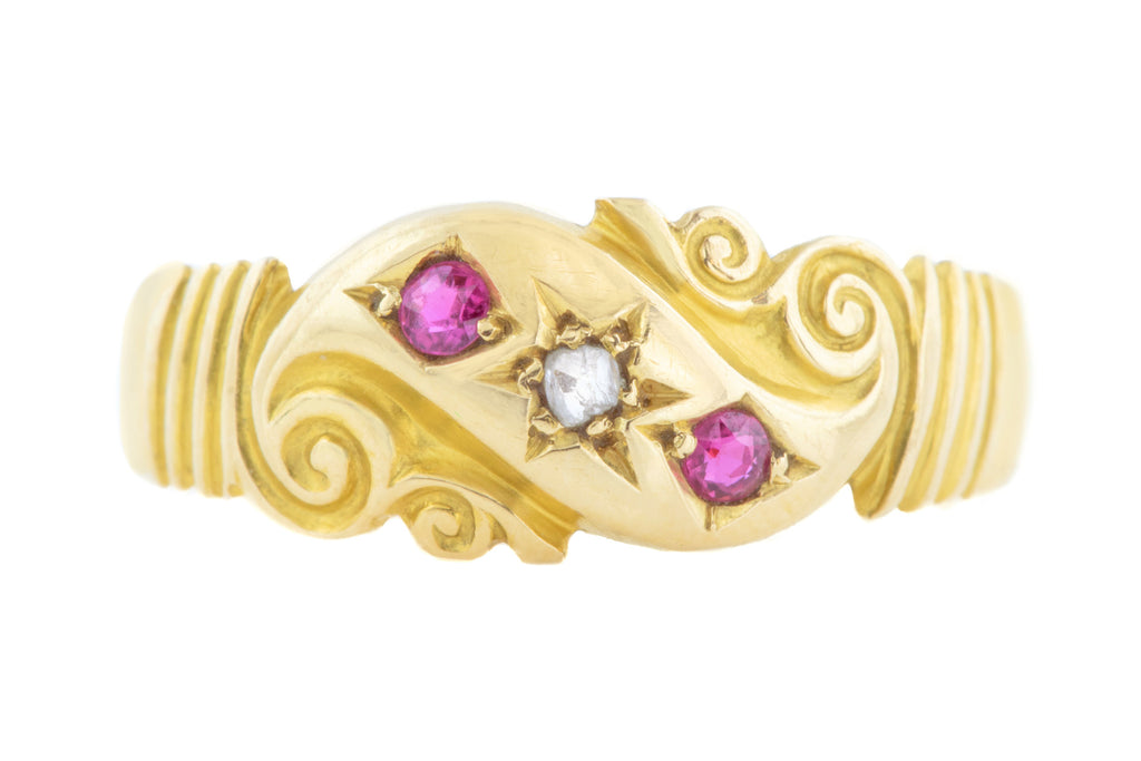 18ct Gold Antique Ruby Diamond Fancy Gypsy Ring