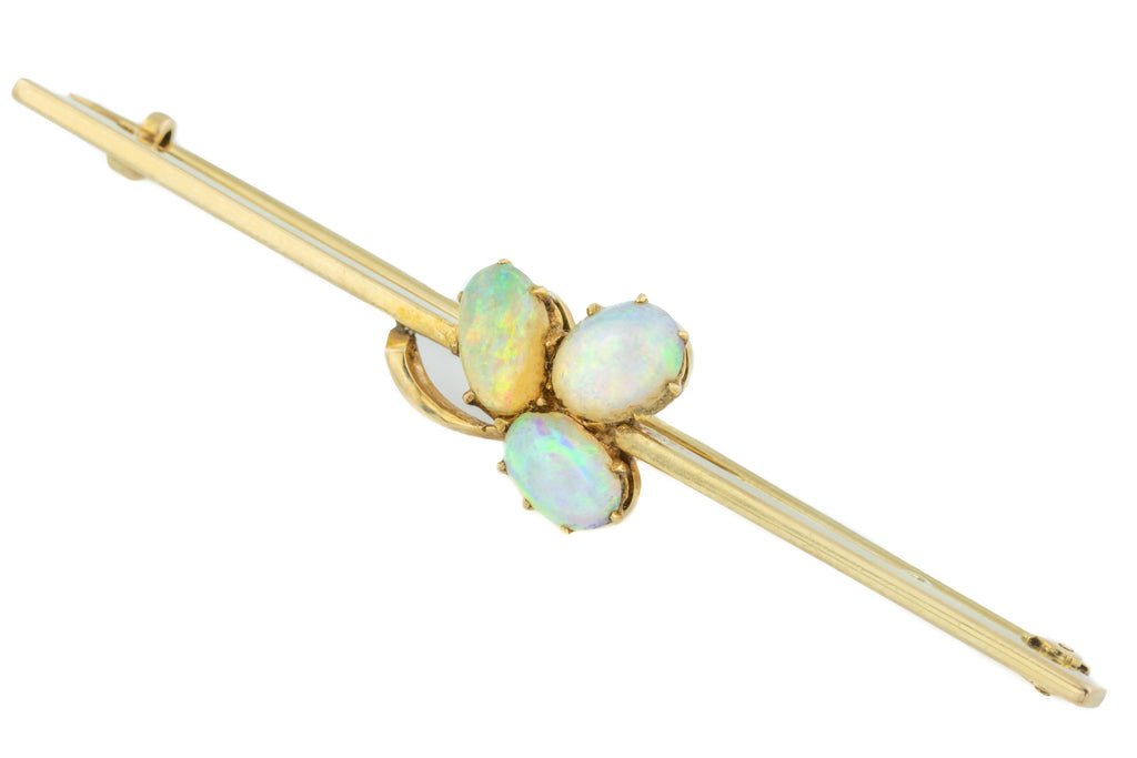 Antique Gold Opal Shamrock Brooch (1.40ct)