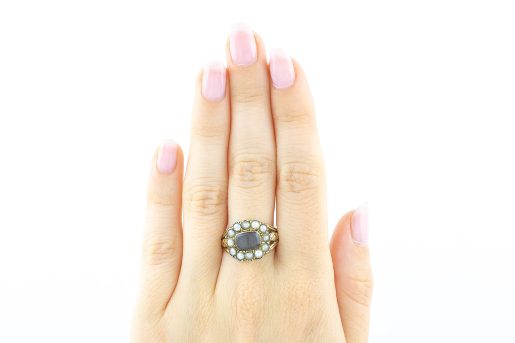 Georgian Pearl Mourning Cluster Ring in 9ct Gold
