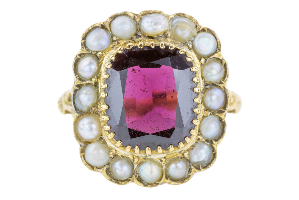 Vintage Garnet Pearl Cluster Statement Ring (4.76ct)