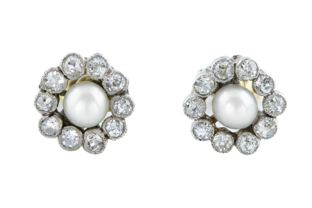 Edwardian Diamond and Pearl Cluster Earrings 0.40ct