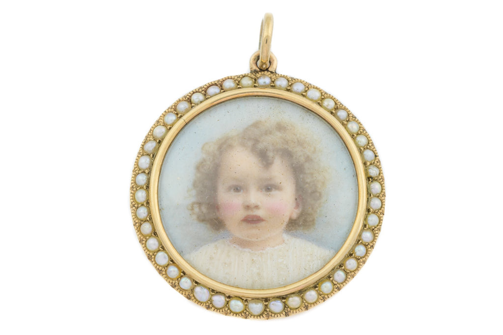 Edwardian Pearl Locket with Hand Painted Portrait c.1908