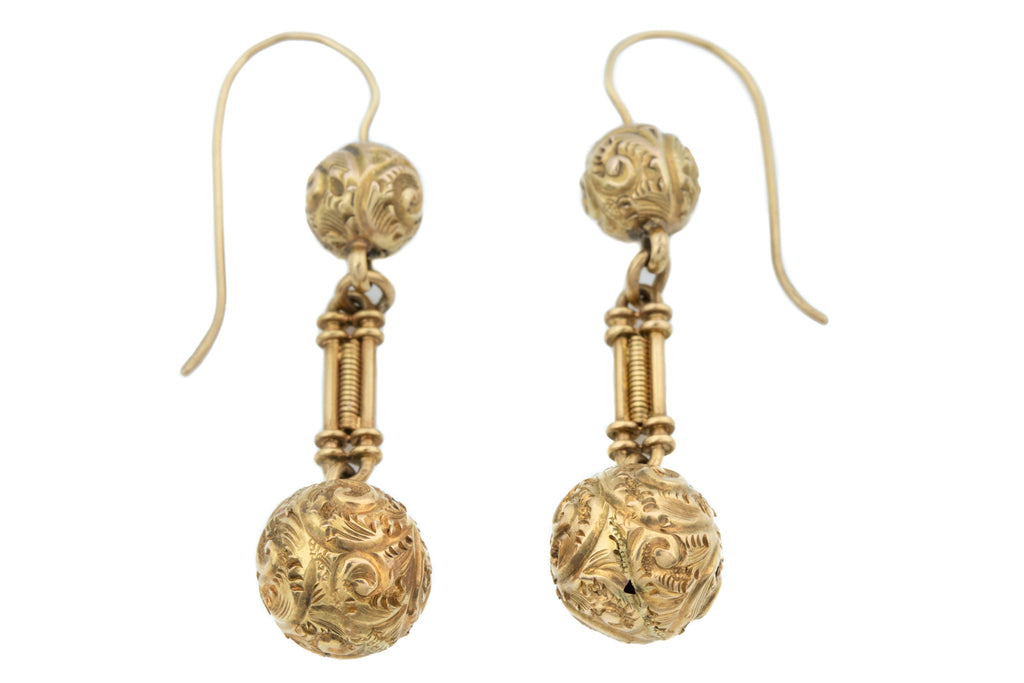 Antique Gold Repousse Drop Earrings