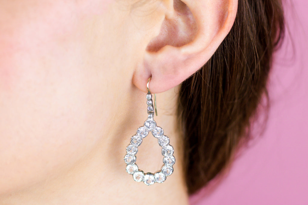 Antique Paste Teardrop Earrings