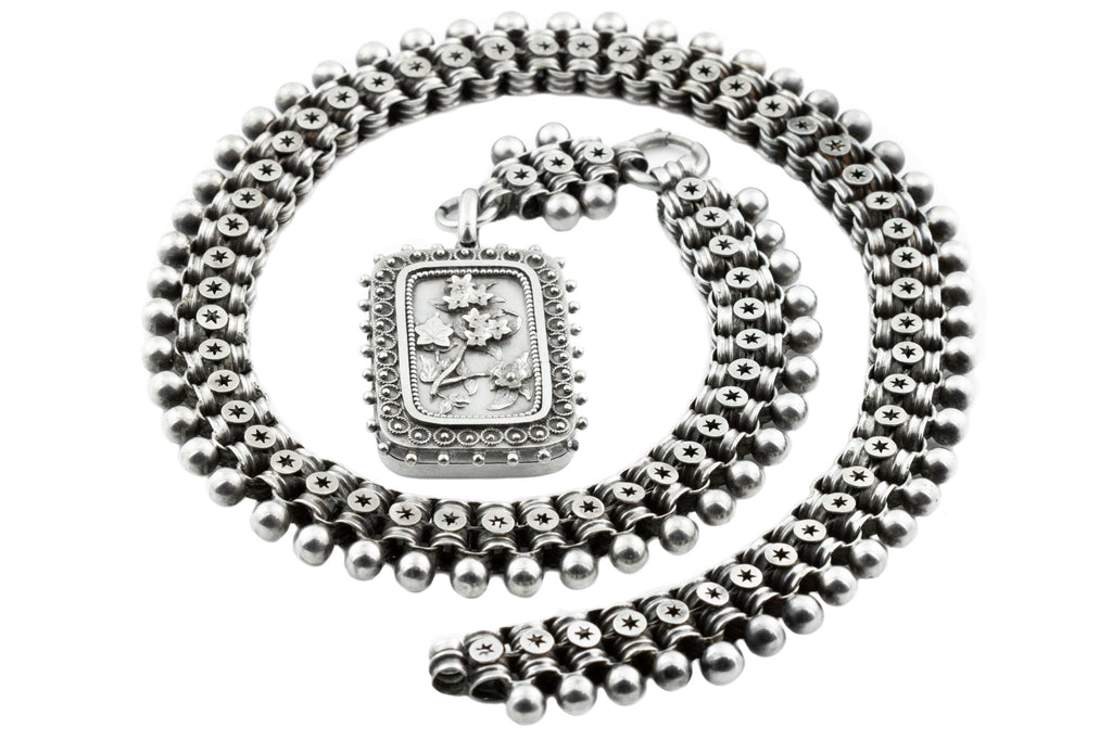 Victorian Aesthetic Book Chain Necklace with Locket, 17.5""