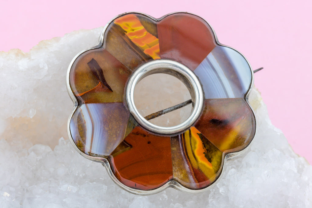 Victorian Silver Scottish Agate Brooch