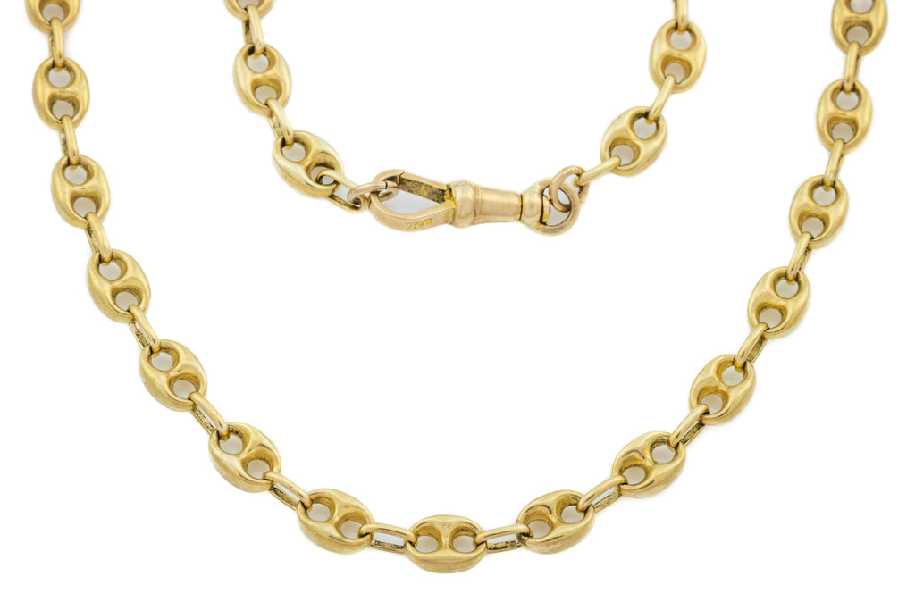 "Antique 9ct Gold Anchor Link Chain Necklace, 21.5"" (17.2g)"