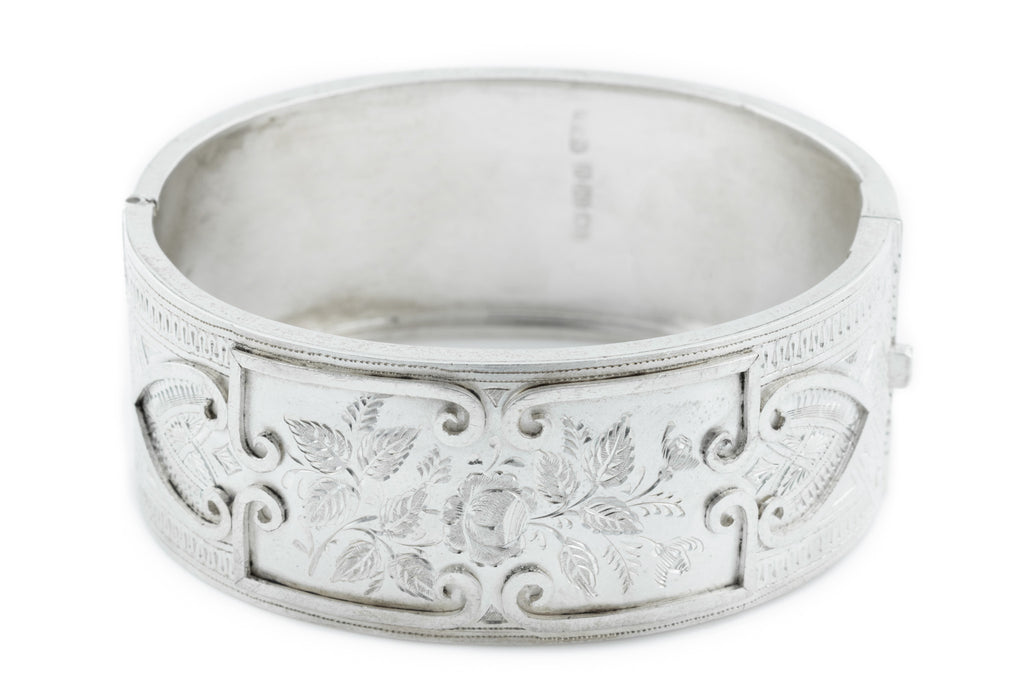 Victorian Aesthetic Silver Bangle with Satin Finish c.1882