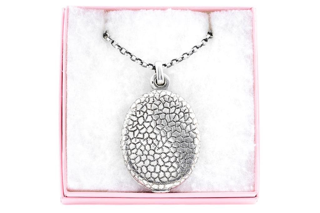 "Antique Silver Mirror Pendant, French ""Mother of Dragons"" Locket"