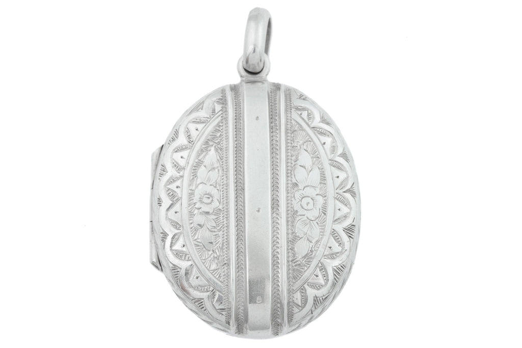 Victorian Silver Engraved Locket c.1880