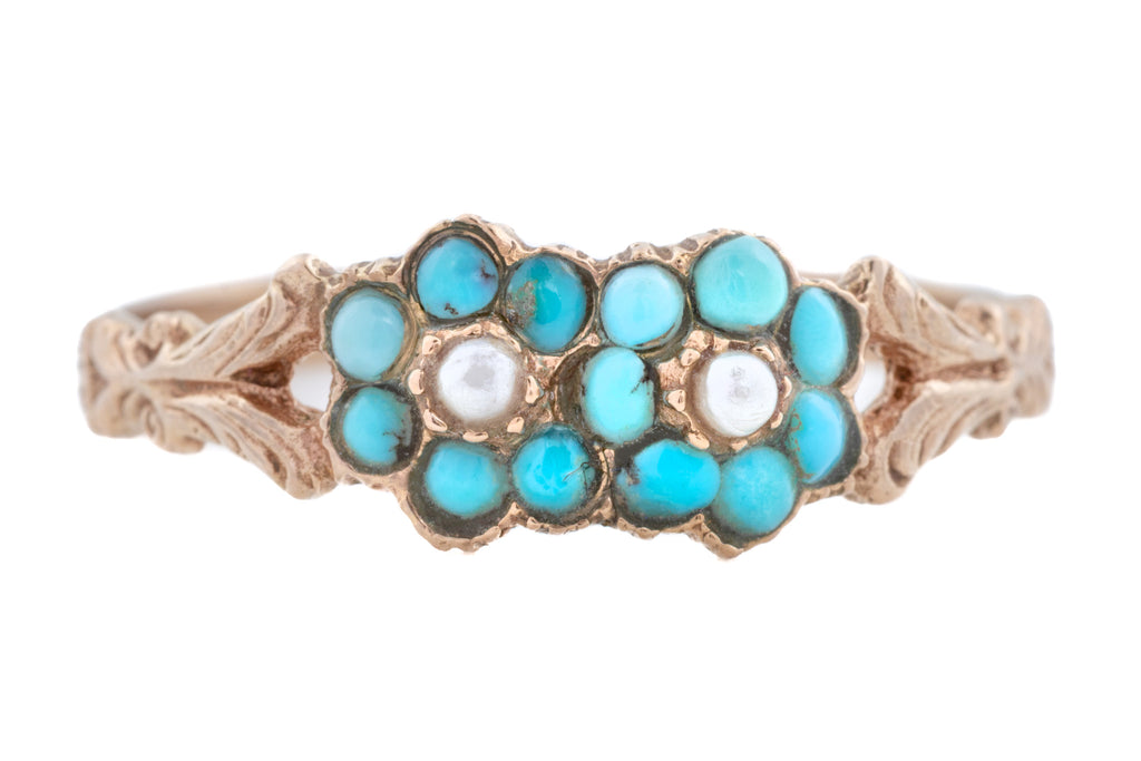 Victorian Turquoise and Pearl Twin Cluster Ring in 9ct Gold