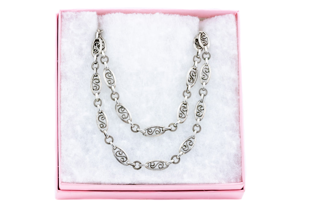 Arts and Crafts Era Long Chain Necklace, 60""