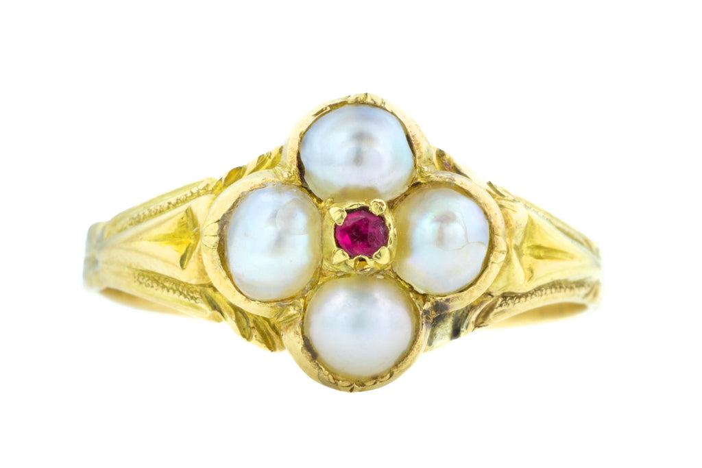 Victorian Pearl and Ruby Flower Cluster Ring c.1840