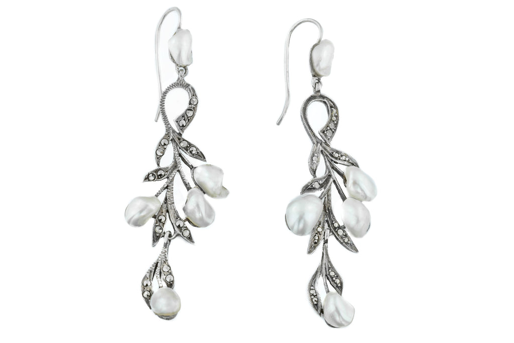 French Art Nouveau Pearl Drop Earrings