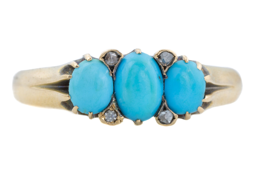 Austro-Hungarian 15ct Gold Turquoise Trilogy Ring