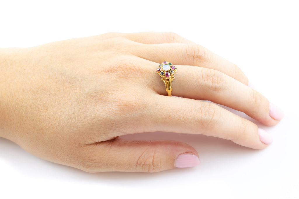 RESERVED 18ct Gold Victorian Opal and Ruby Cluster Ring