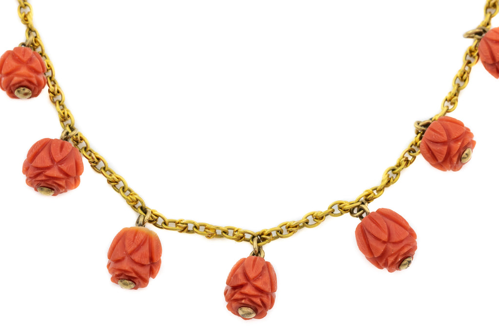 15ct Gold Victorian Coral Necklace