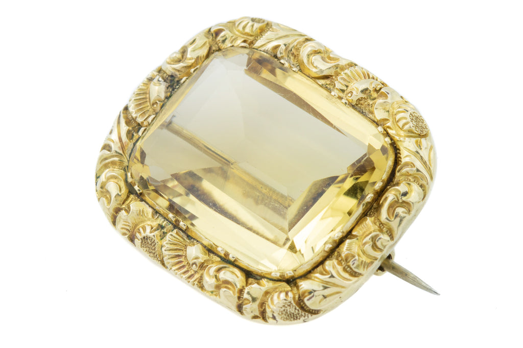 15ct Gold Victorian Citrine Brooch (13.06ct)