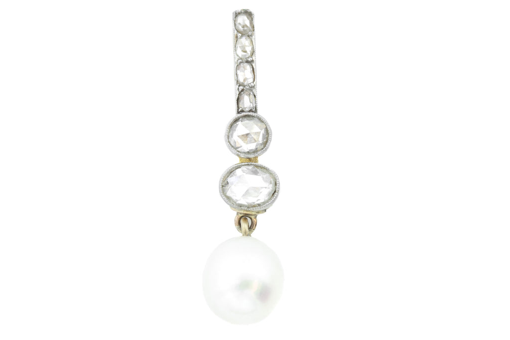 Antique Diamond and Pearl Drop Pendant