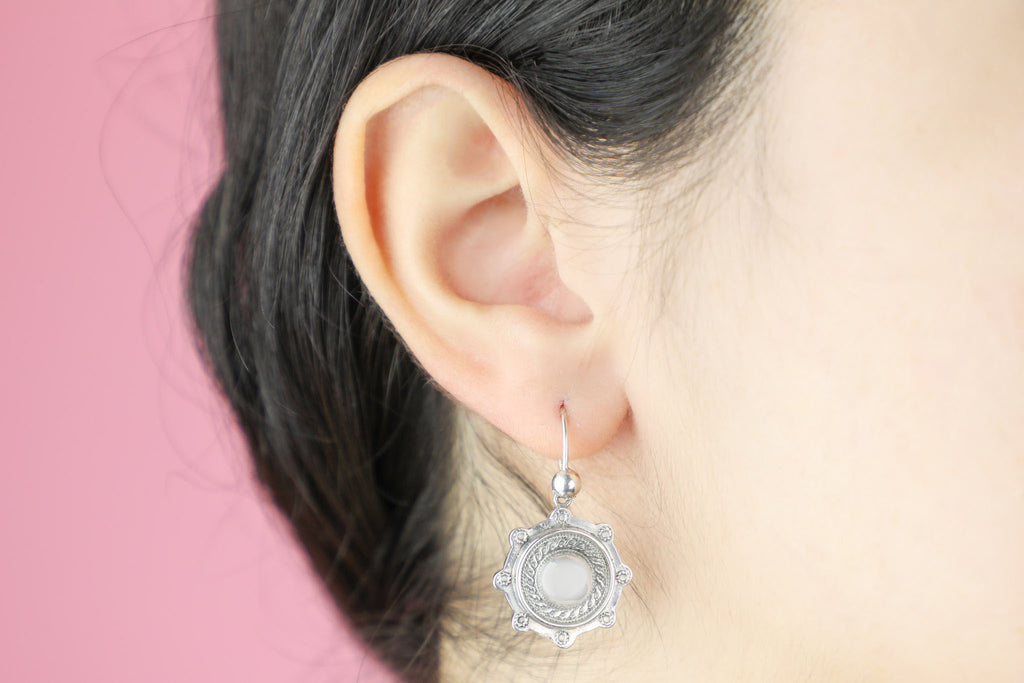 Victorian Silver Etruscan Revival Earrings